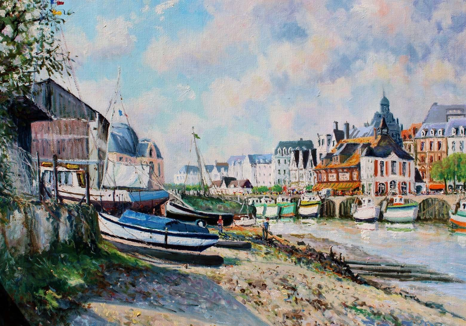 Trouville sur Mer at low tide and the Shipyard.