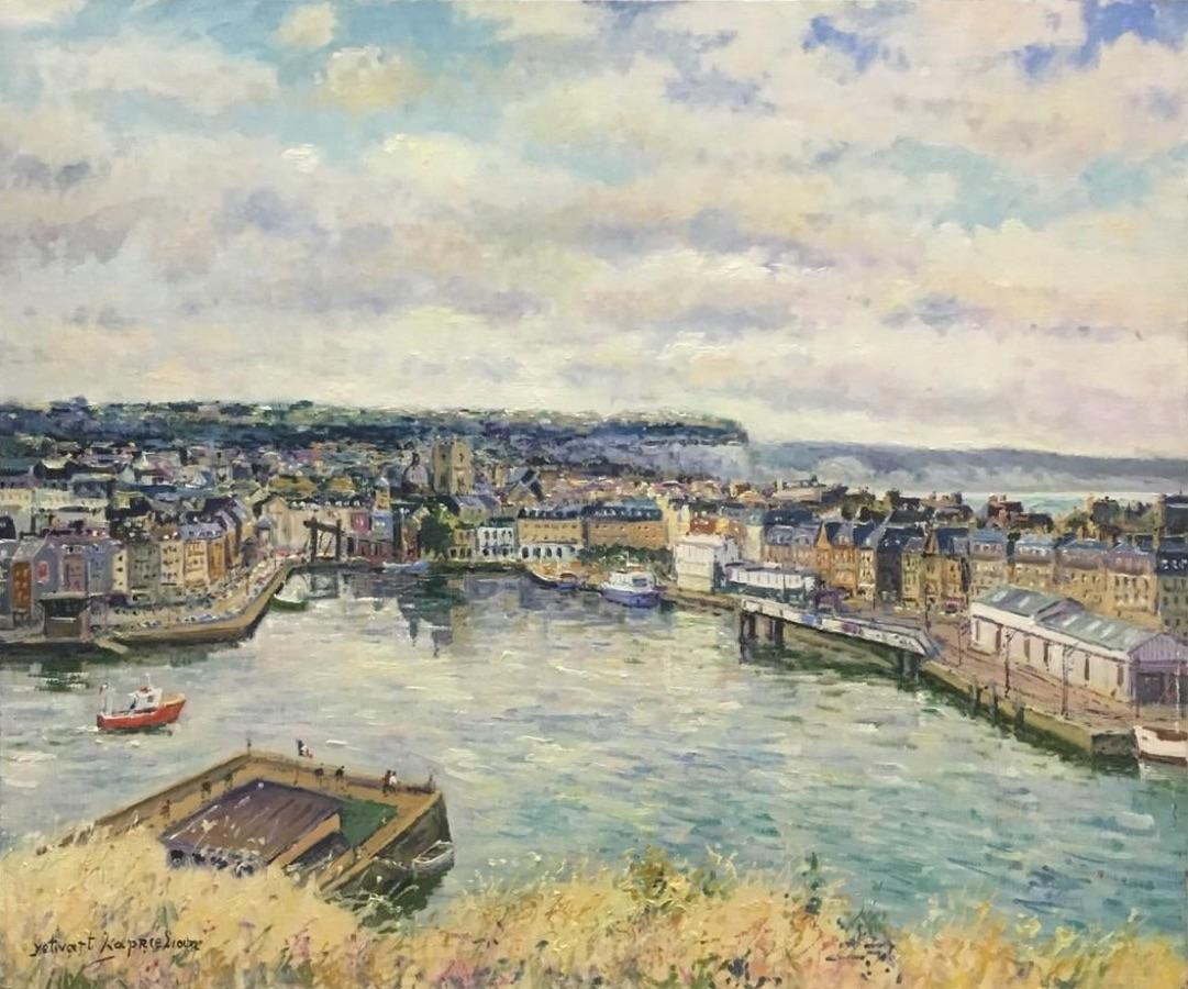 Vue Geneiale de Dieppe-Oil on Canvas, Signed by Artist, comes with COA