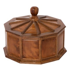 Yew Wood Paneled Box with Turned Central Finial by Hugh Birkett, England 1979