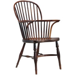 Yew Wood Stick Back, English Windsor Chair, 19th Century, Lincolnshire Hoop Back
