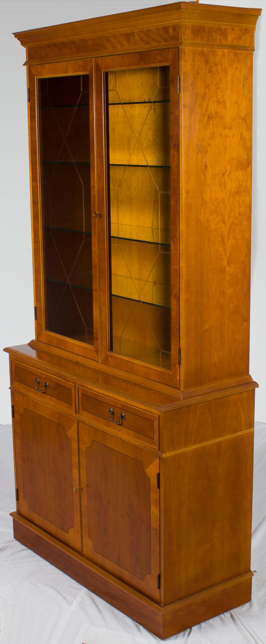 Georgian Yew Wood Two Glass Door Breakfront Small China Cabinet Bookcase  For Sale