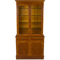 Yew Wood Two Glass Door Breakfront Small China Cabinet Bookcase