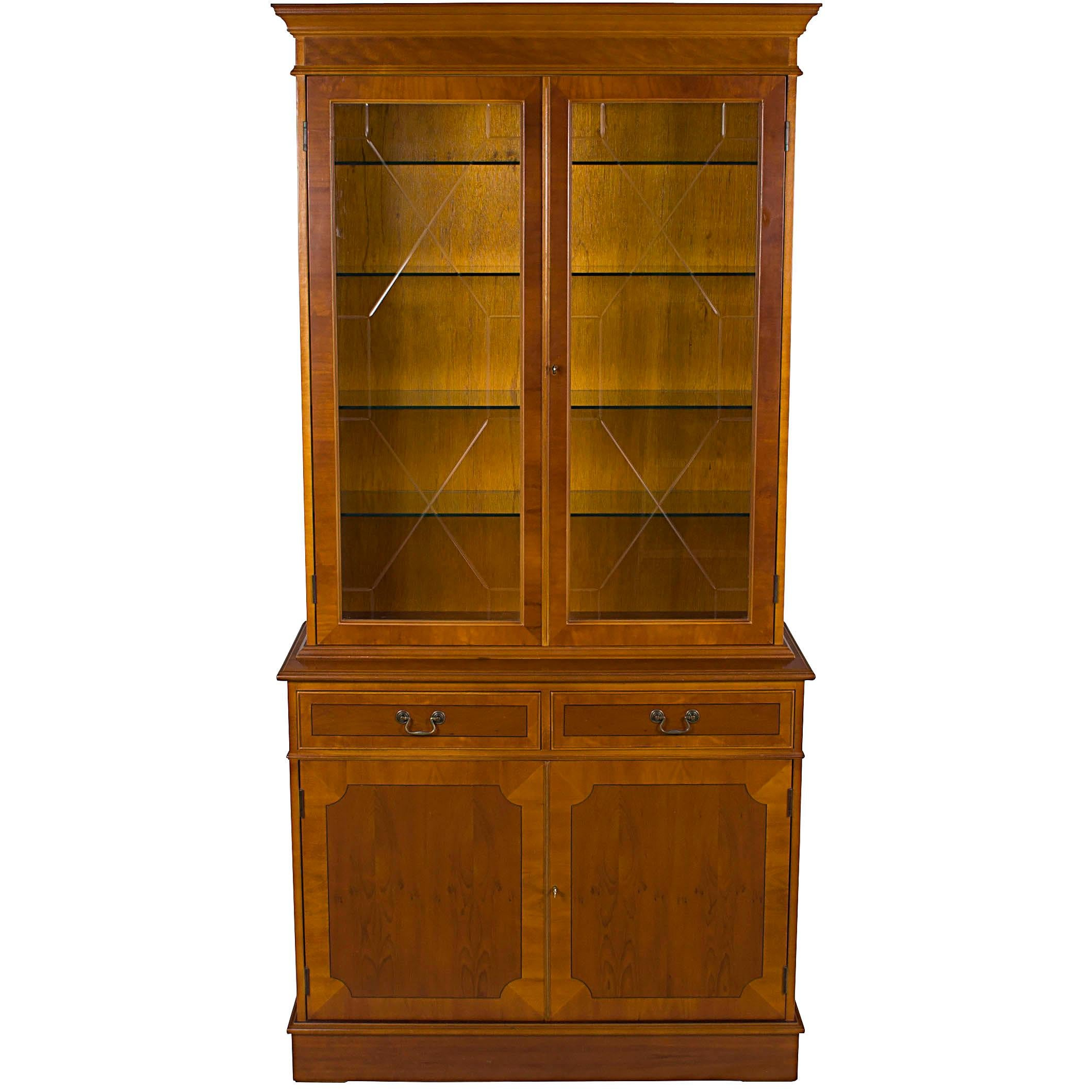 Yew Wood Two Glass Door Breakfront Small China Cabinet Bookcase For Sale