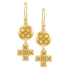 Yellow Gold Plate Silver Dangle Drop Flower,  Cross Earrings DIAMONDS in the SKY