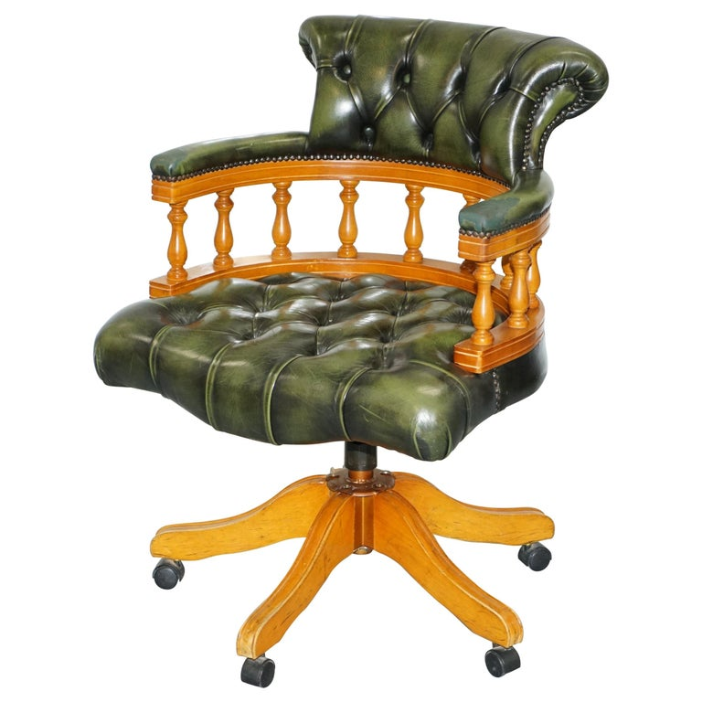 Pleasant Yew Wood Chesterfield Directors Green Leather Executive Captains Office Chair Machost Co Dining Chair Design Ideas Machostcouk