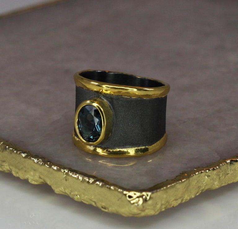 Yianni Creation Blue Topaz Fine Silver 24 Karat Gold Rhodium Wide Band Ring For Sale 4