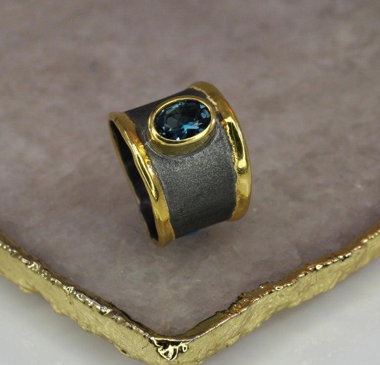 Yianni Creation Blue Topaz Fine Silver 24 Karat Gold Rhodium Wide Band Ring For Sale 5