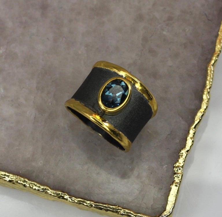 Yianni Creation Blue Topaz Fine Silver 24 Karat Gold Rhodium Wide Band Ring For Sale 8