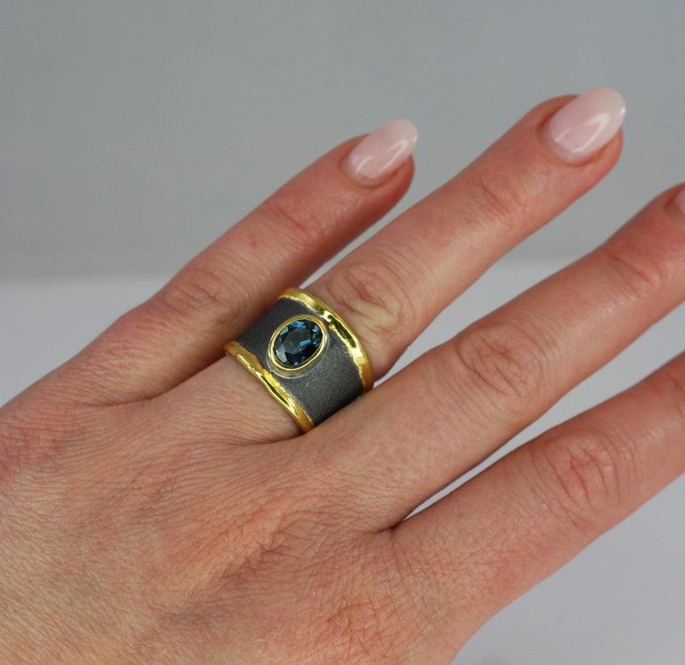 Yianni Creation Blue Topaz Fine Silver 24 Karat Gold Rhodium Wide Band Ring For Sale 11