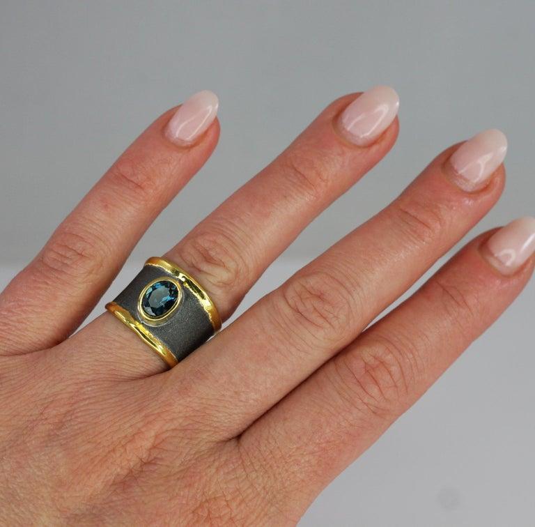 Yianni Creation Blue Topaz Fine Silver 24 Karat Gold Rhodium Wide Band Ring For Sale 10