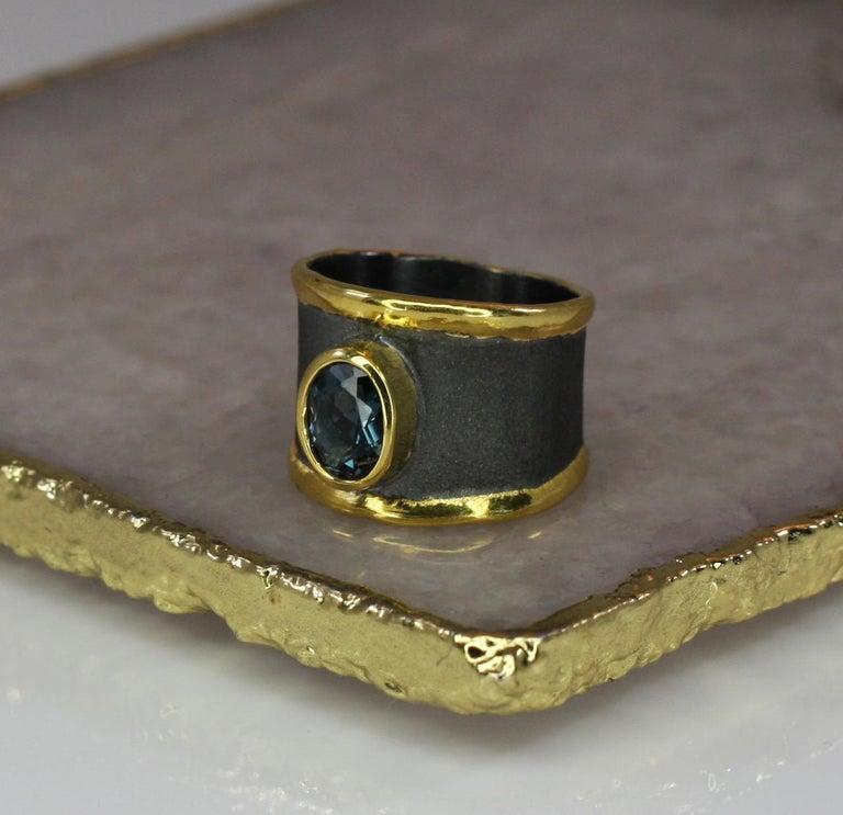 Yianni Creation Blue Topaz Fine Silver 24 Karat Gold Rhodium Wide Band Ring For Sale 9