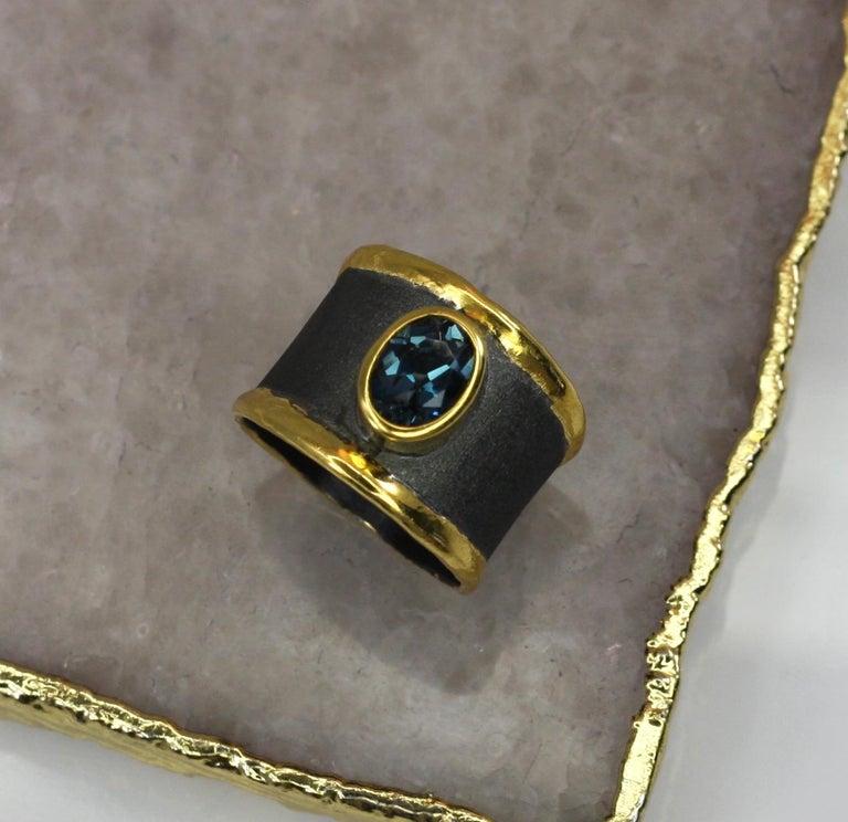 Yianni Creation Blue Topaz Fine Silver 24 Karat Gold Rhodium Wide Band Ring For Sale 6