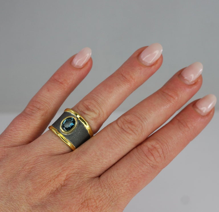 Contemporary Yianni Creation Blue Topaz Fine Silver 24 Karat Gold Rhodium Wide Band Ring For Sale