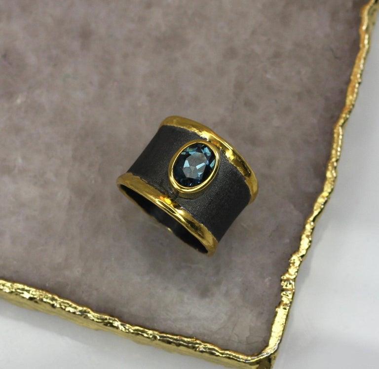 Yianni Creation Blue Topaz Fine Silver 24 Karat Gold Rhodium Wide Band Ring For Sale 7