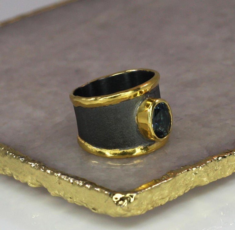 Yianni Creation Blue Topaz Fine Silver 24 Karat Gold Rhodium Wide Band Ring In New Condition For Sale In Astoria, NY