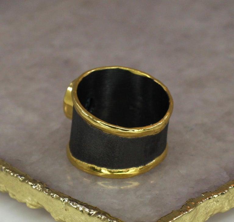 Yianni Creation Blue Topaz Fine Silver 24 Karat Gold Rhodium Wide Band Ring For Sale 2
