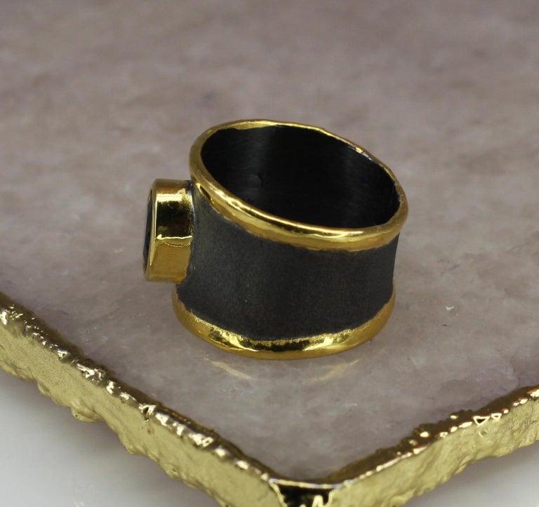 Yianni Creation Blue Topaz Fine Silver 24 Karat Gold Rhodium Wide Band Ring For Sale 3