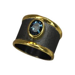Yianni Creation Fine Silver Topaz Ring Finished with Pure Gold and Black Rhodium