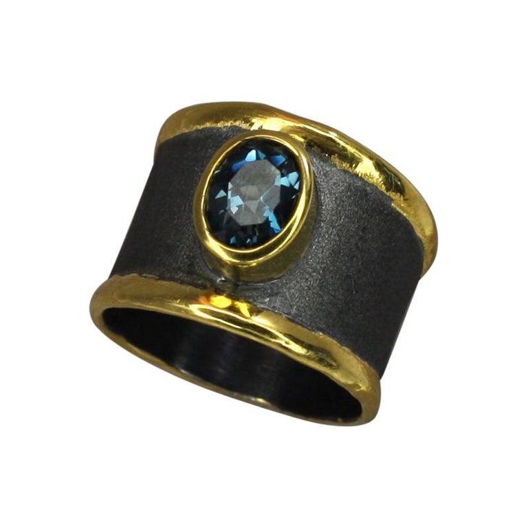 Yianni Creation Blue Topaz Fine Silver 24 Karat Gold Rhodium Wide Band Ring For Sale