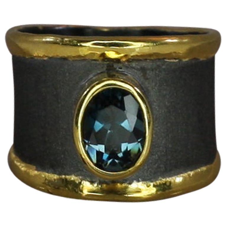 Yianni Creation Topaz Fine Silver 24 Karat Gold and Black Rhodium Wide Band Ring