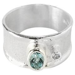 Yianni Creations 0.40 Carat Aquamarine and Diamond Fine Silver Palladium Ring