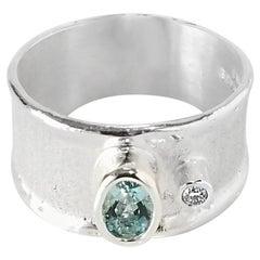 Yianni Kreationen, 0,40 Karat Aquamarin und Diamant, Feines Silber Palladium Ring