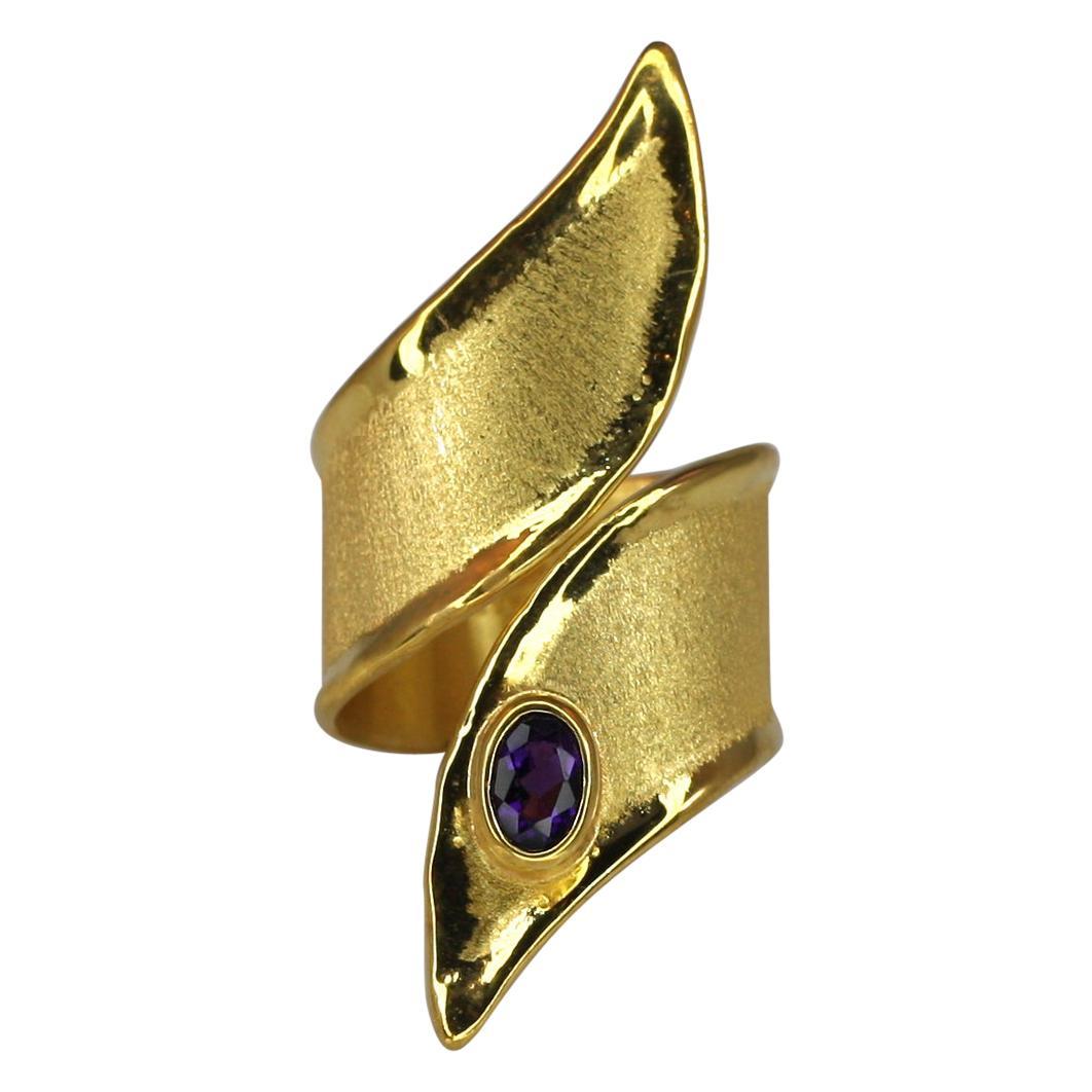 Yianni Creations 18 Karat Gold Amethyst Wide Long Mat and Shinny Band Ring