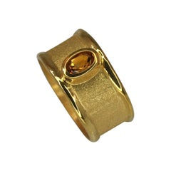 Yianni Creations 0.45 Carat Citrine Band Ring in 18 Karat Gold