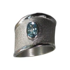 Yianni Creations 0.75 Carat Aquamarine Ring in Fine Silver and Palladium