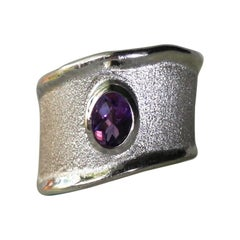 Yianni Creations 0.85 Carat Amethyst Ring in Fine Silver and Palladium