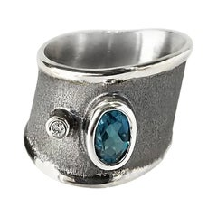 Yianni Creations London Blue Topaz Diamond Fine Silver and Rhodium Band Ring
