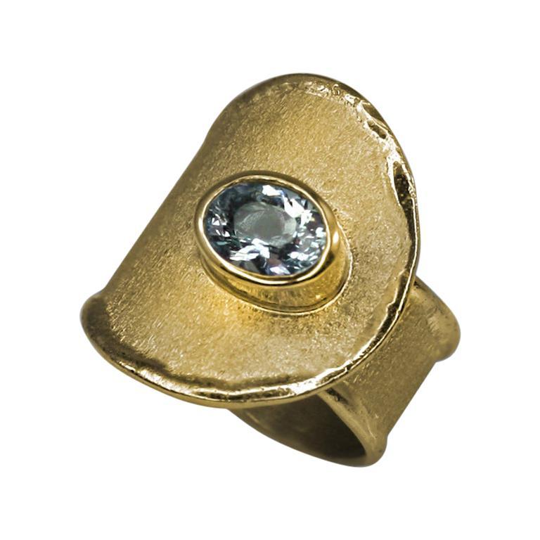 Yianni Creations Aquamarine Adjustable Wide Band Ring in 18 Karat Yellow Gold