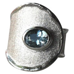Yianni Creations 1.10 Aquamarine Artisan Ring in Fine Silver and Palladium
