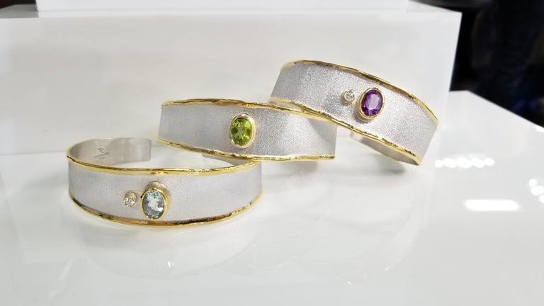Yianni Creations 1.10 Carat Aquamarine and Diamond 18 Karat Yellow Gold Bracelet For Sale 5