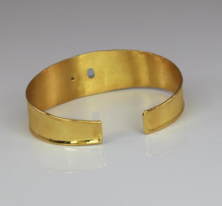 Oval Cut Yianni Creations 1.10 Carat Aquamarine and Diamond 18 Karat Yellow Gold Bracelet For Sale