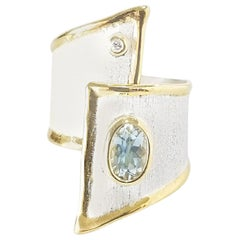 Yianni Kreationen 1,10 Karat Aquamarin & Diamant feines Silber 24 Karat Gold Ring