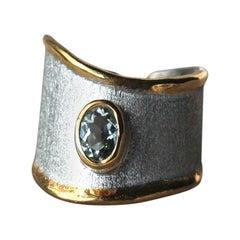 Yianni Creations 1.10 Carat Aquamarine Fine Silver 24 Karat Gold Opened Ring