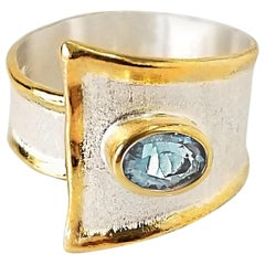 Yianni Creations 1.10 Carat Aquamarine Fine Silver and 24 Karat Gold Ring