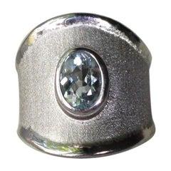Yianni Creations 1.10 Carat Aquamarine Fine Silver Palladium Protected Ring