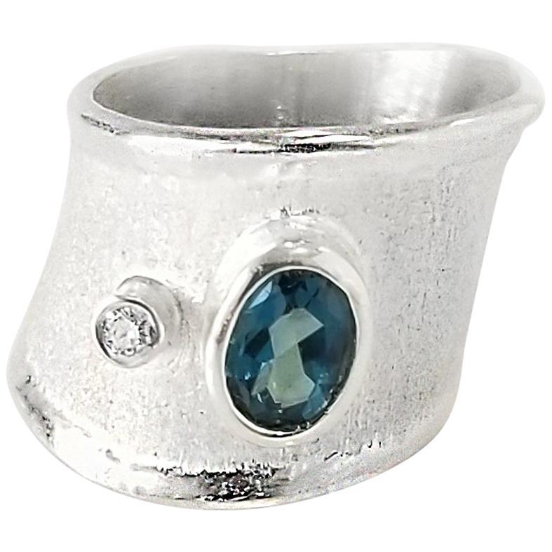 Yianni Creations London Blue Topaz and Diamond Fine Silver Palladium Band Ring