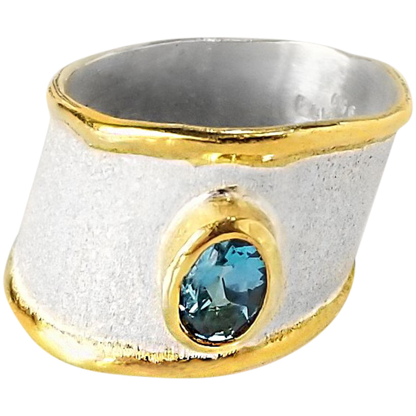 Yianni Creations London Blue Topaz Fine Silver and 24 Karat Gold Band Ring