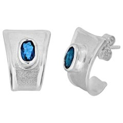 Yianni Creations London Blue Topaz and Fine Silver Solitaire Stud Earrings