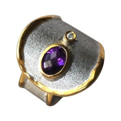 Yianni Creations 1.25 Amethyst and Diamond Ring in Fine Silver and 24 Karat Gold
