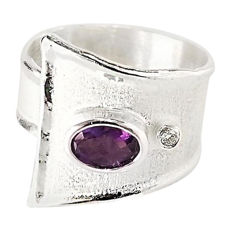 Yianni Creations Amethyst and Diamond Fine Silver Palladium Wide Adjustable Ring