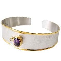 Yianni Creations 1.25 Carat Amethyst Diamond Fine Silver 24 Karat Gold Bracelet
