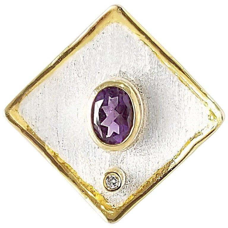 Yianni Creations 1.25 Carat Amethyst Diamond Fine Silver 24 Karat Gold Ring For Sale