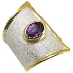 Yianni Creations 1.25 Carat Amethyst Fine Silver 24 Karat Gold Ring