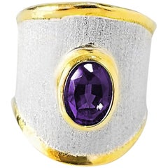 Yianni Creations 1.25 Carat Amethyst Fine Silver and 24 Karat Gold Handmade Ring