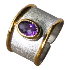 Yianni Creations 1.25 Carat Amethyst Fine Silver and 24 Karat Gold Opened Ring