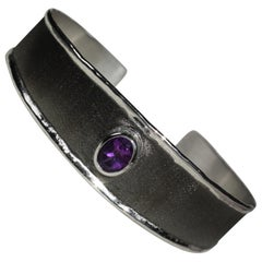 Yianni Creations 1.25 Carat Amethyst Fine Silver and Black Rhodium Bracelet